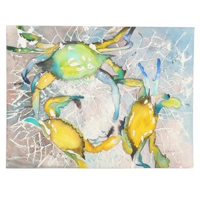 Phiris Kathryn Sickels Crab Watercolor Painting, 21st Century