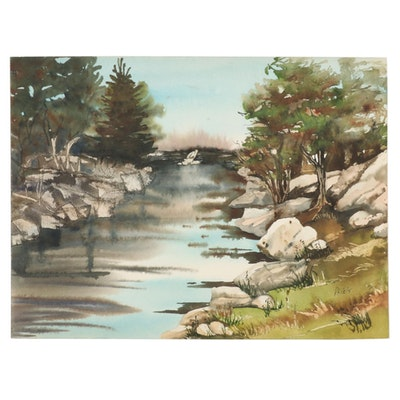 Phiris Kathryn Sickels Riverscape Watercolor Painting, 21st Century