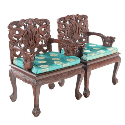 Pair of Chinese Carved Hardwood Armchairs