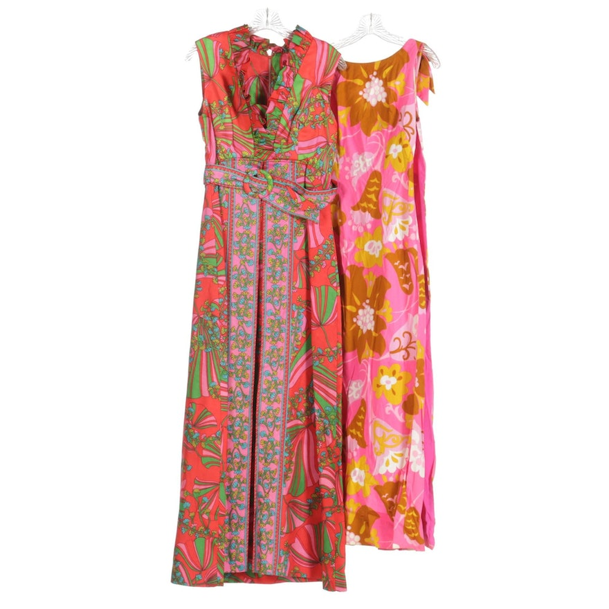 Mildred's of Hawaii and Other Floral Motif Maxi Length Sleeveless Dresses