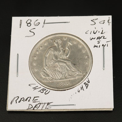 1861-S Seated Liberty Half Dollar