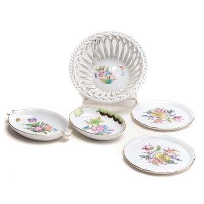 """Herend """"Queen Victoria"""" with Other Porcelain Dishes and Basket"""