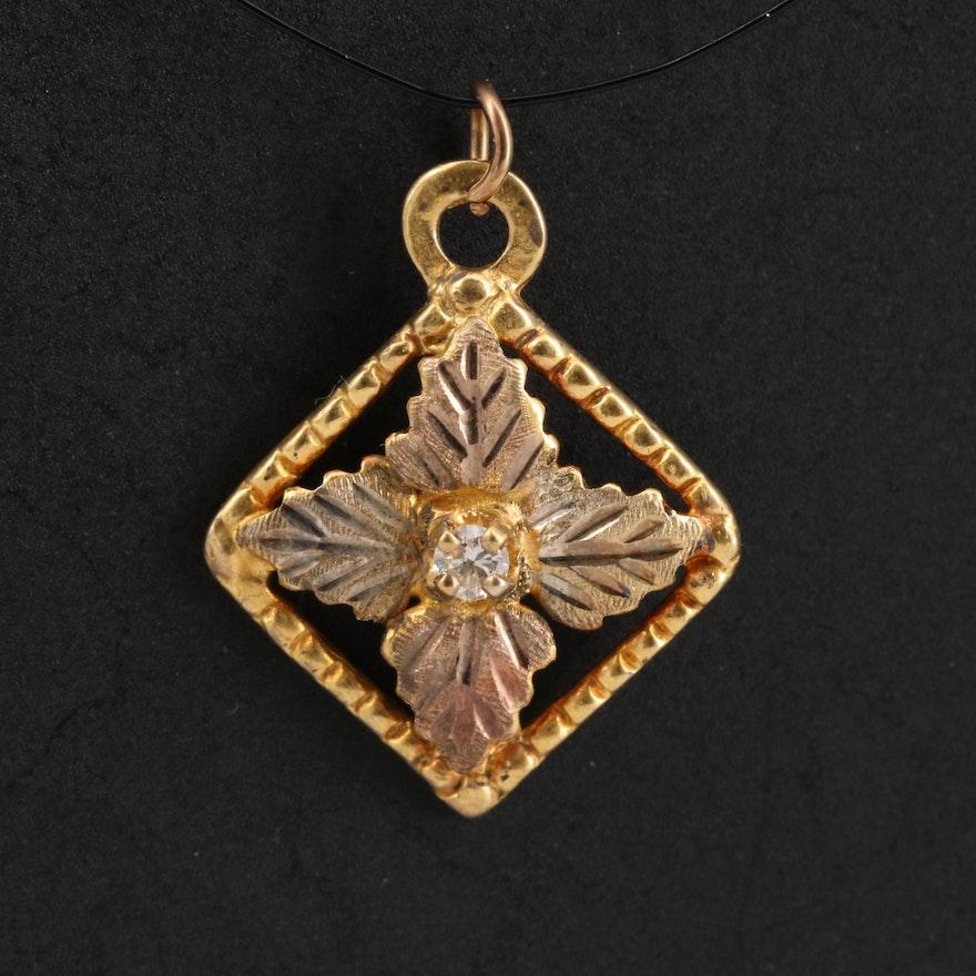 10K Tri-Color Gold Diamond Leaf Pendant