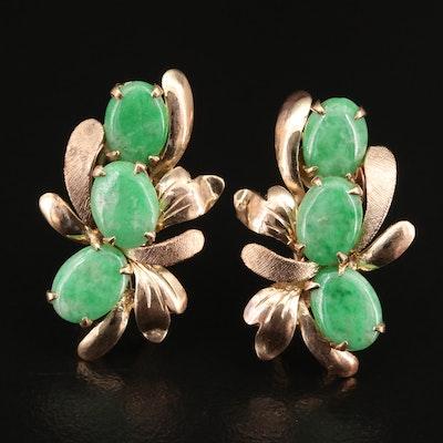Vintage 14K Jadeite Foliate Clip Earrings