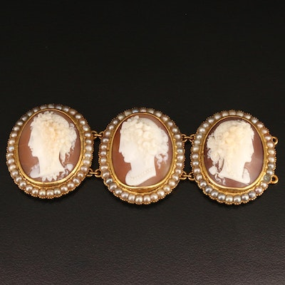 Vintage 14K Shell and Seed Pearl Cameo Links