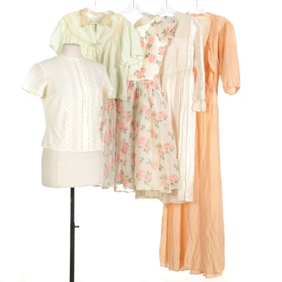 Sleeveless Dress with Bolero, Sleepwear Jacket, Blouse, Nightgown, and Dress