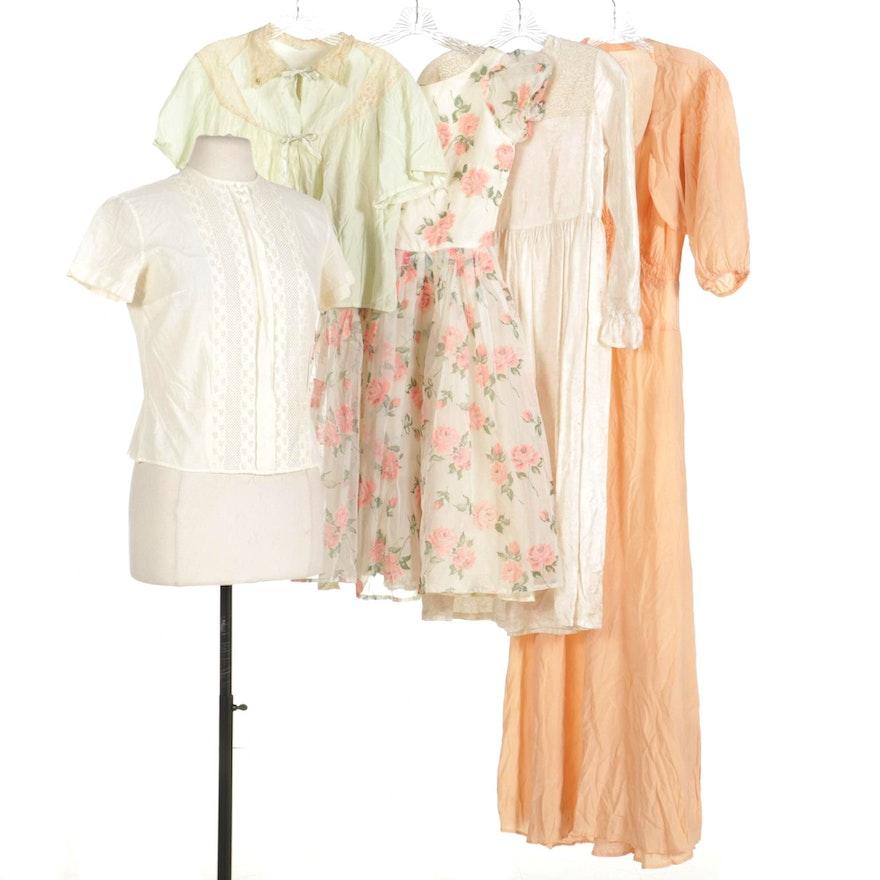 Sleeveless Dress with Bolero, Sleepwear Jacket, Blouse, Nightgown, and Dress