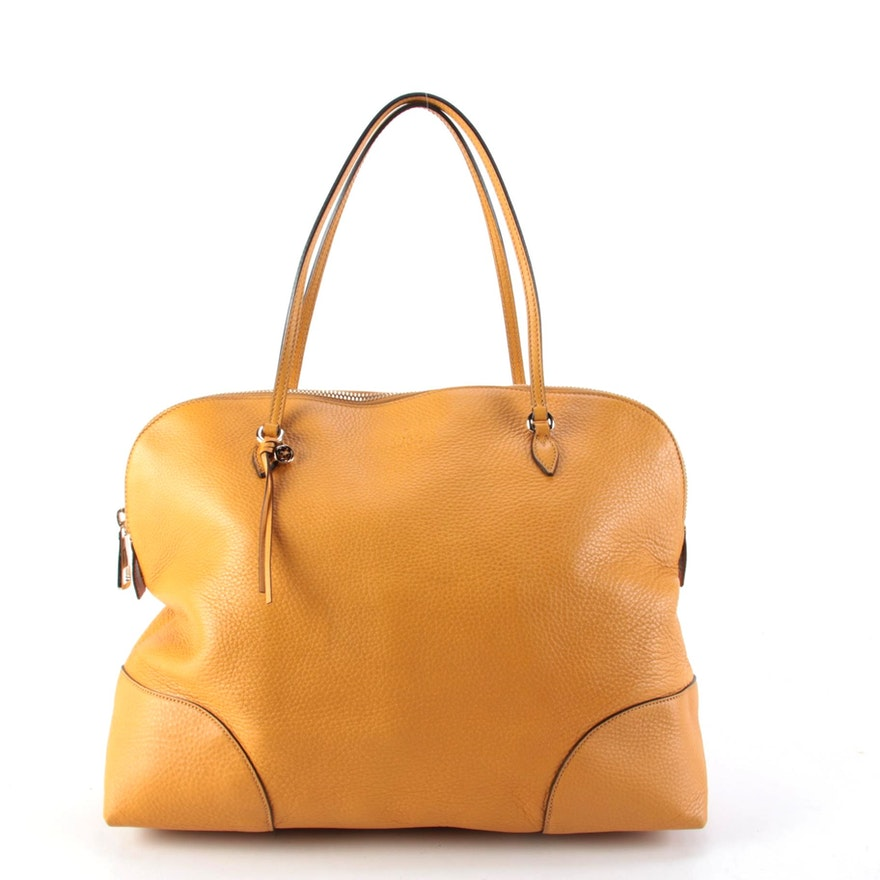 Gucci Bree Maize Yellow Pebble Grained Leather Shoulder Bag