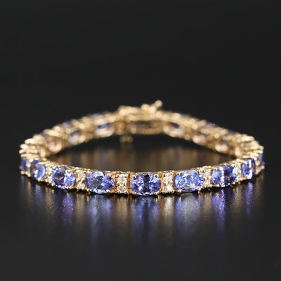 14K 17.82 CTW Tanzanite and 1.20 CTW Diamond Link Bracelet