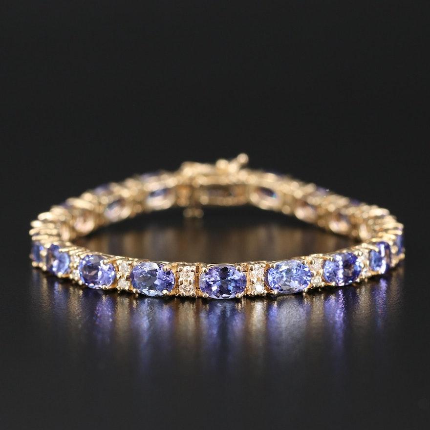 14K 17.82 CTW Tanzanite and 1.20 CTW Diamond Link Bracelet