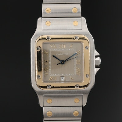 "Cartier ""Santos Galbee"" 18K Yellow Gold and Stainless Steel Quartz Wristwatch"