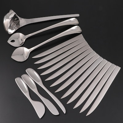 """Georg Jensen """"Duo"""" Salad Servers, Cheese Knives, Dinner Knives and Ladle"""