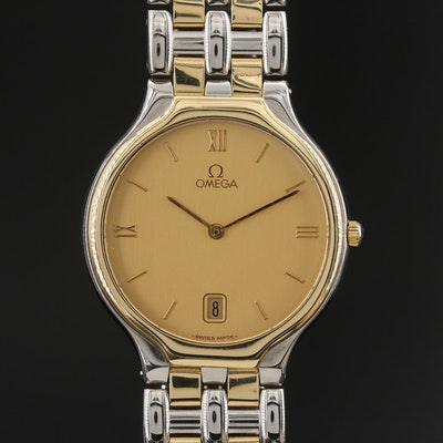 1991 Omega DeVille Symbol 18K Yellow Gold and Stainless Steel Quartz Wristwatch