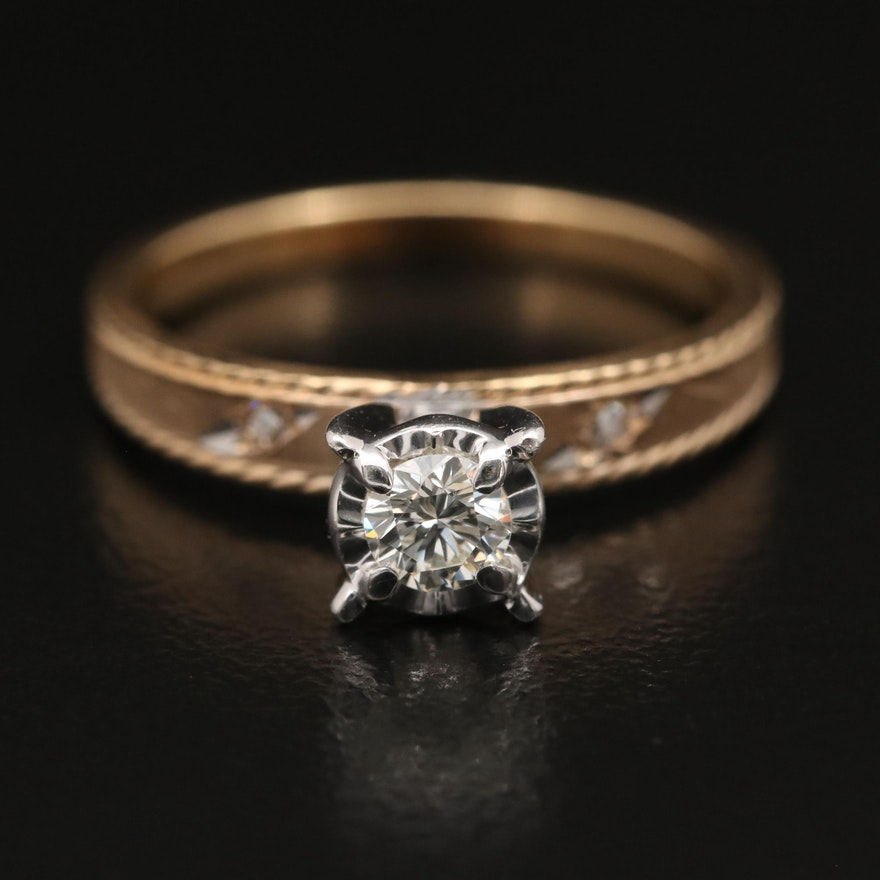 Vintage 14K Two-Tone Diamond Ring