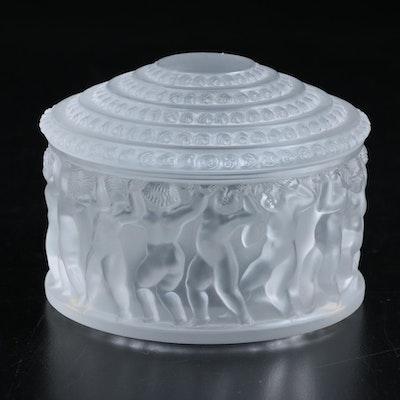 """Lalique """"Enfants"""" Frosted Crystal Dresser Box"""