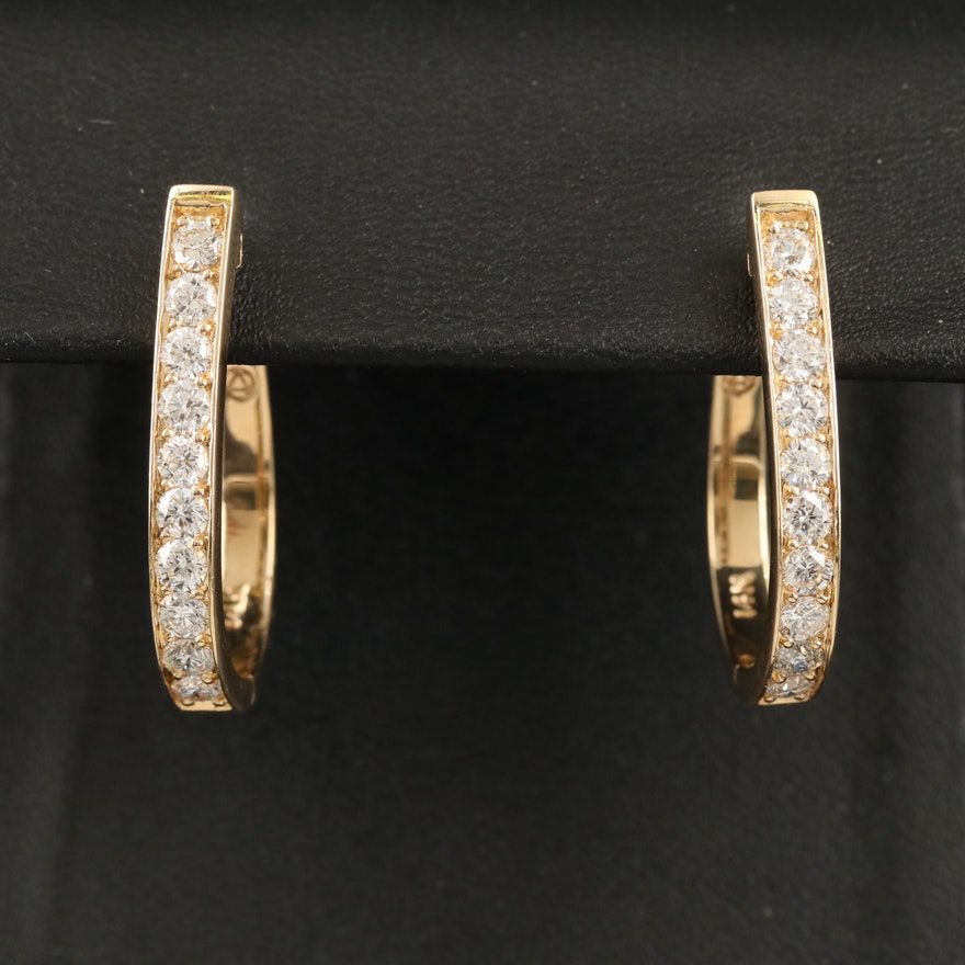 14K 2.50 CTW Diamond Hoop Earrings