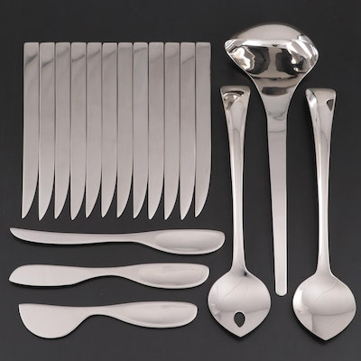 """Georg Jensen """"Duo"""" Salad Servers, Cheese Knives, Dinners Knives and Ladle"""