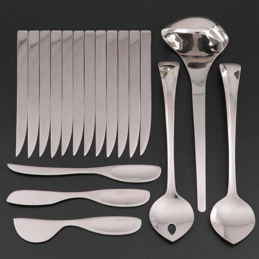 "Georg Jensen ""Duo"" Salad Servers, Cheese Knives, Dinners Knives and Ladle"