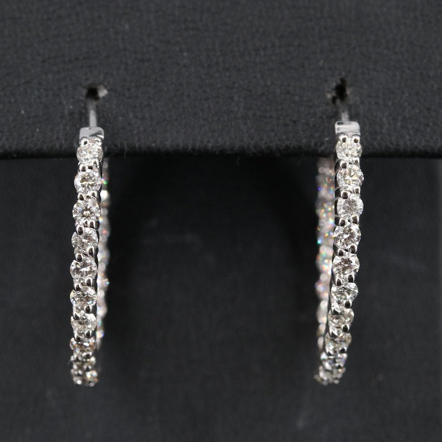14K 2.87 CTW Diamond Inside-Out Hoop Earrings