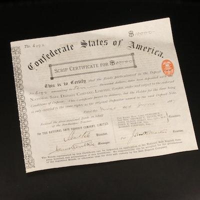 Confederate States Script Certificate for $10,000