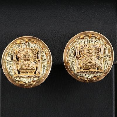 Vintage Peruvian Arte Orfebre 18K Earrings