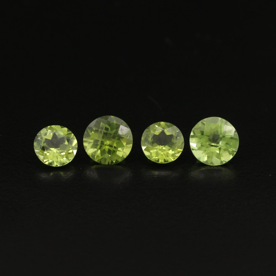 Matched Pairs of Loose 6.93 CTW Round Faceted Peridots