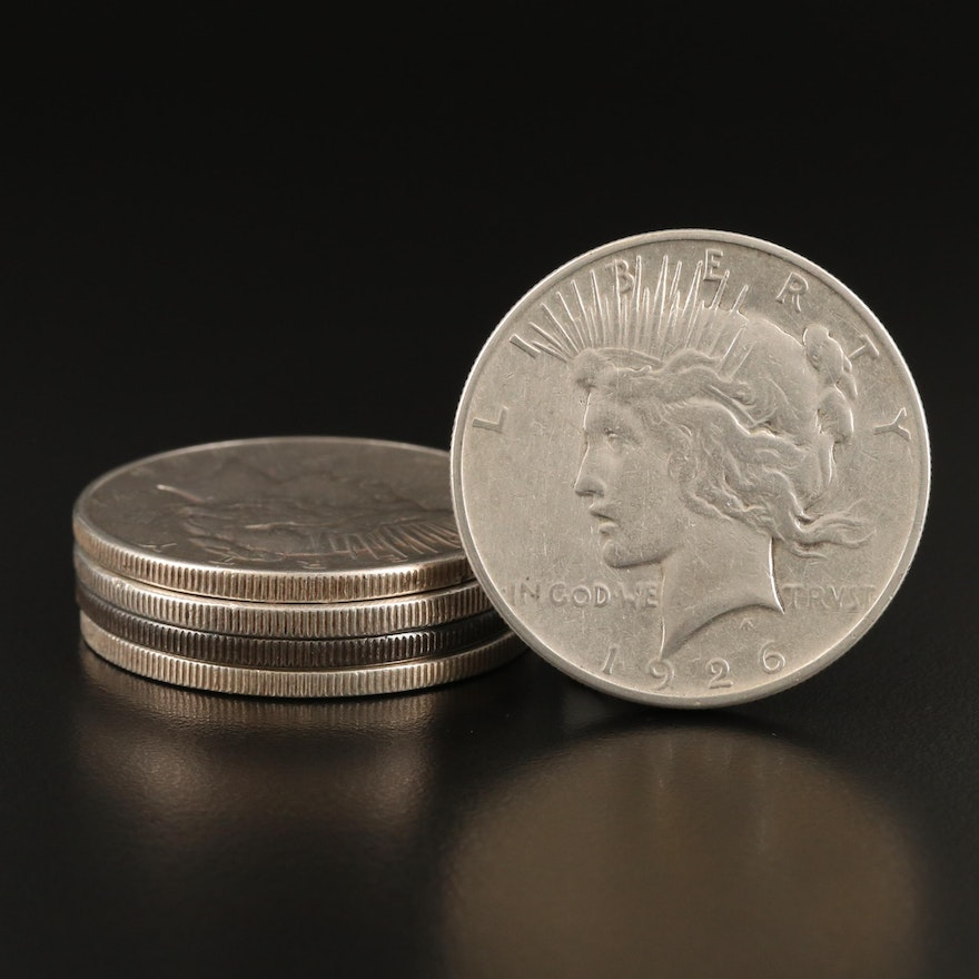 Five Peace Silver Dollars