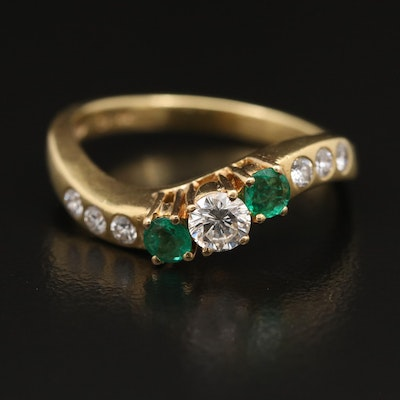 18K Diamond and Emerald Contour Ring