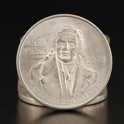 Ten 1978 Mexican 100-Pesos Silver Coins