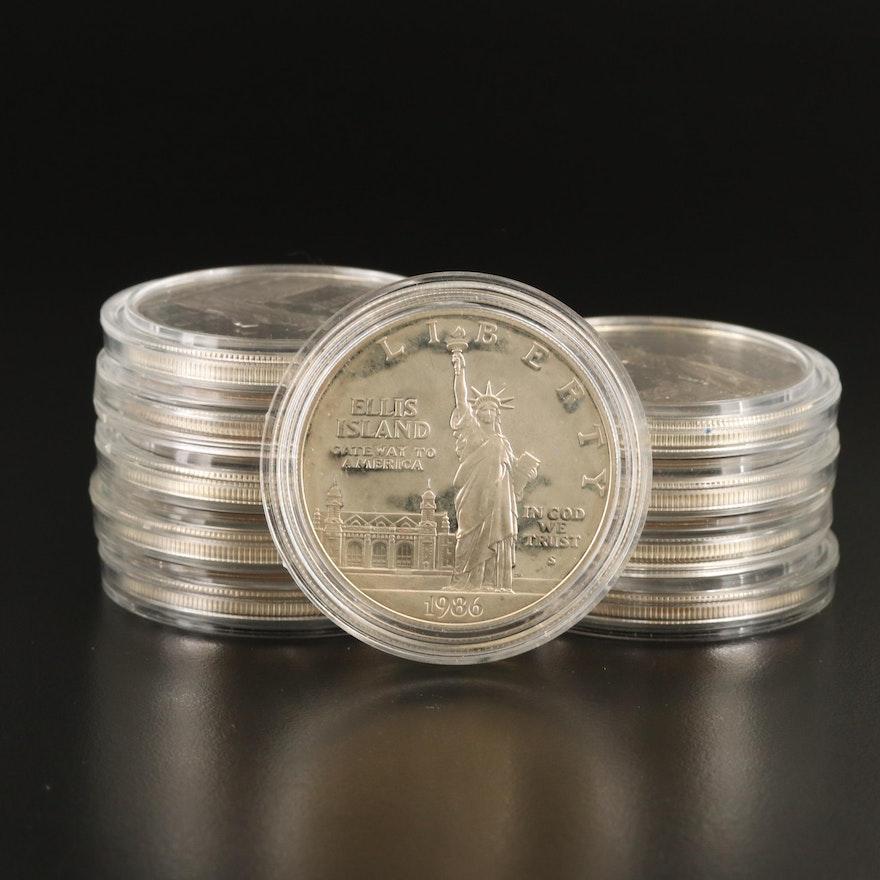 Ten 1986-S Statue of Liberty Proof Commemorative Silver Dollars