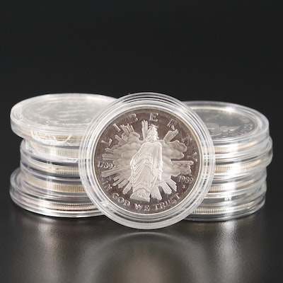 Ten Proof and Uncirculated Commemorative Silver Dollars