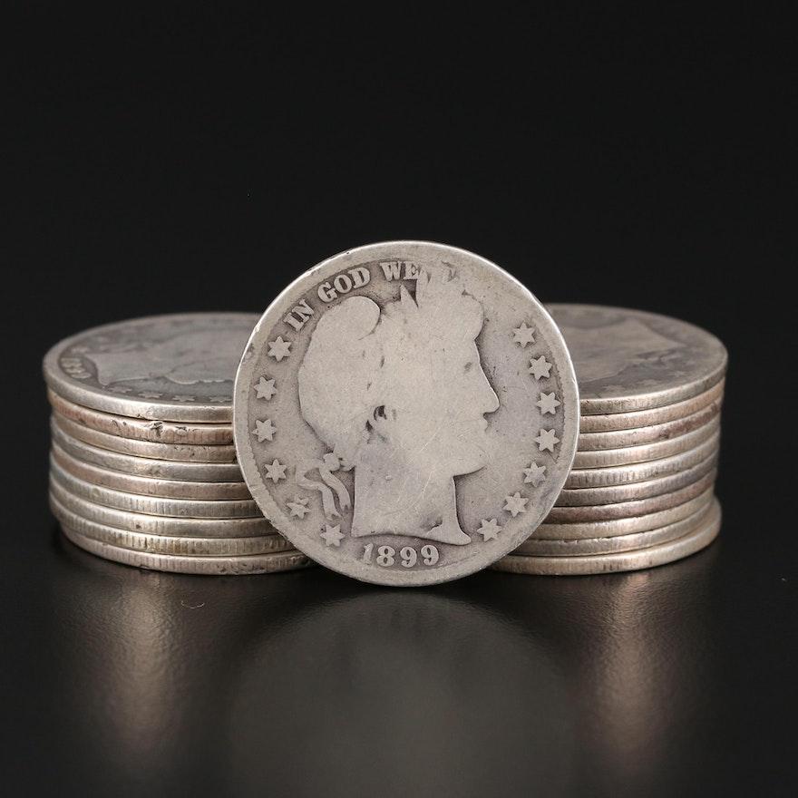 Twenty Barber Silver Half Dollars