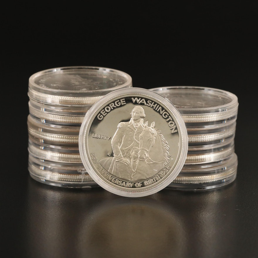 Ten 1982-S George Washington Proof Silver Half Dollars