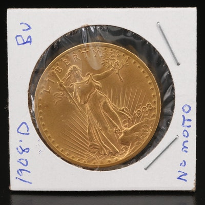 "Low Mintage 1908-D ""No Motto"" Saint-Gaudens $20 Gold Double Eagle"