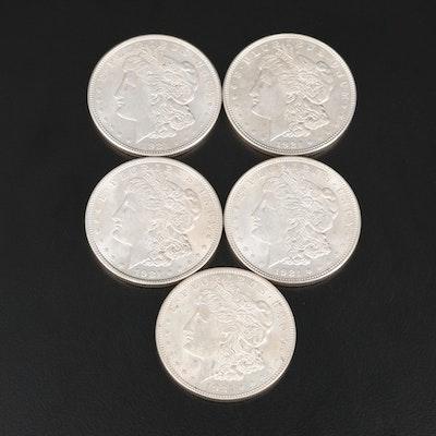 Five 1921 Morgan Silver Dollars