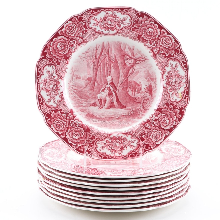 "Crown Ducal ""George Washington Memorial"" Earthenware Dinner Plates"
