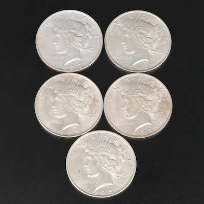 Five 1923 Peace Silver Dollars