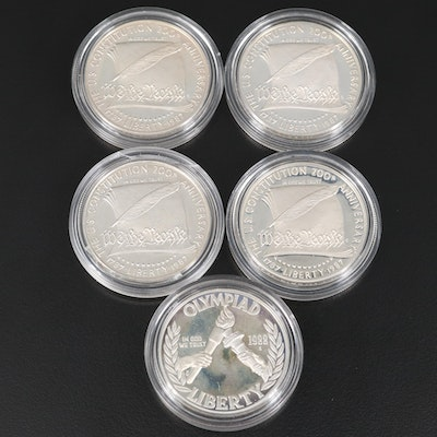Five Proof Commemorative Silver Dollars
