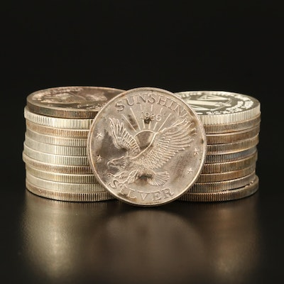 Twenty 1 Troy Ounce .999 Fine Silver Rounds