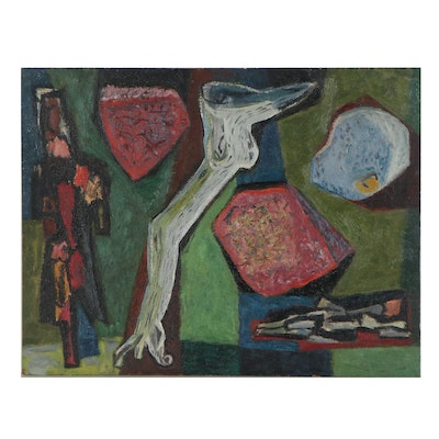 Allen Edward Kubach Abstract Oil Painting, Mid-20th Century