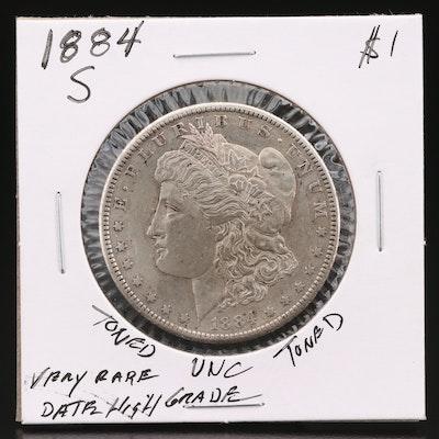 Better Date Toned 1884-S Morgan Silver Dollar