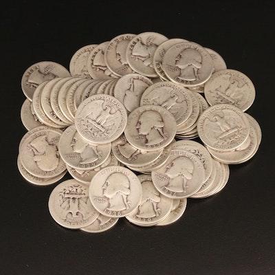 Sixty-Five Washington Silver Quarters, 1930s