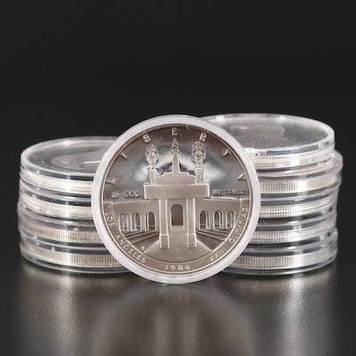 Ten Olympics Proof and Uncirculated Commemorative Silver Dollars