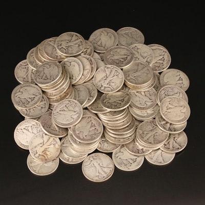 100 Walking Liberty Silver Half Dollars