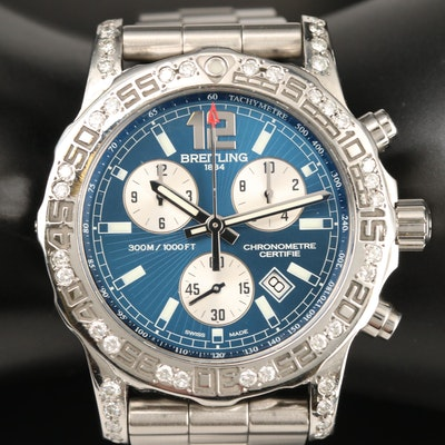 Breitling Colt Chronograph II 1.39 CTW Diamond and Stainless Steel Wristwatch
