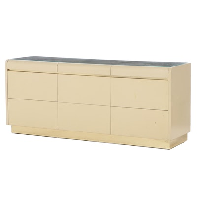 Lane Art Deco Style Lacquer and Brass Nine-Drawer Dresser, 1980s