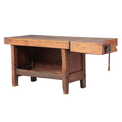 American Primitive Maple, Oak, Pine, and Iron Work Bench, Late 19th Century