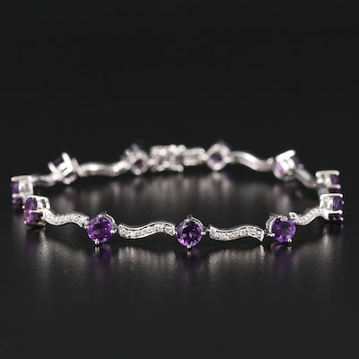 14K 5.50 CTW Amethyst and Diamond Fancy Link Bracelet