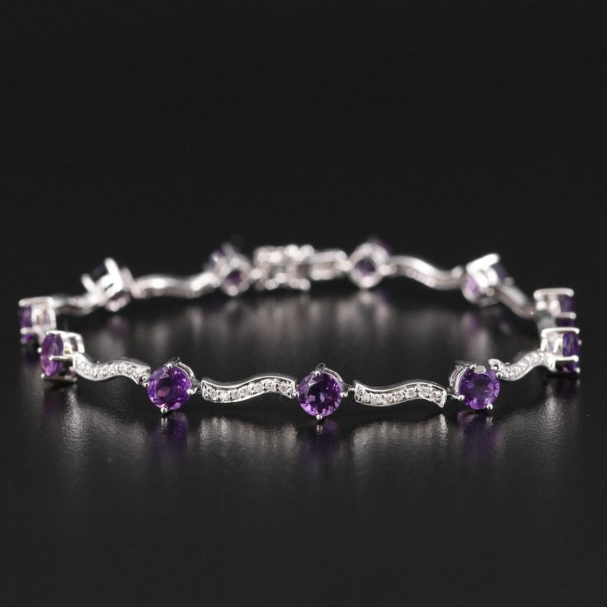 14K 5.50 CTW Amethyst and Diamond Fancy Link Bracelet