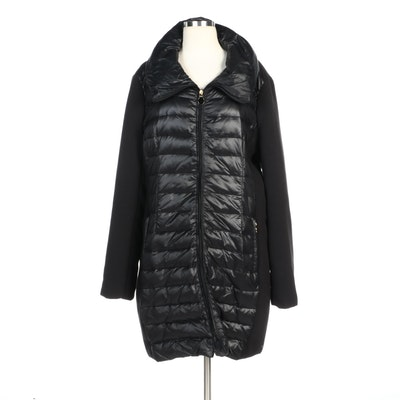 T Tahari Black Nylon Quilted Down Zipper-Front Coat